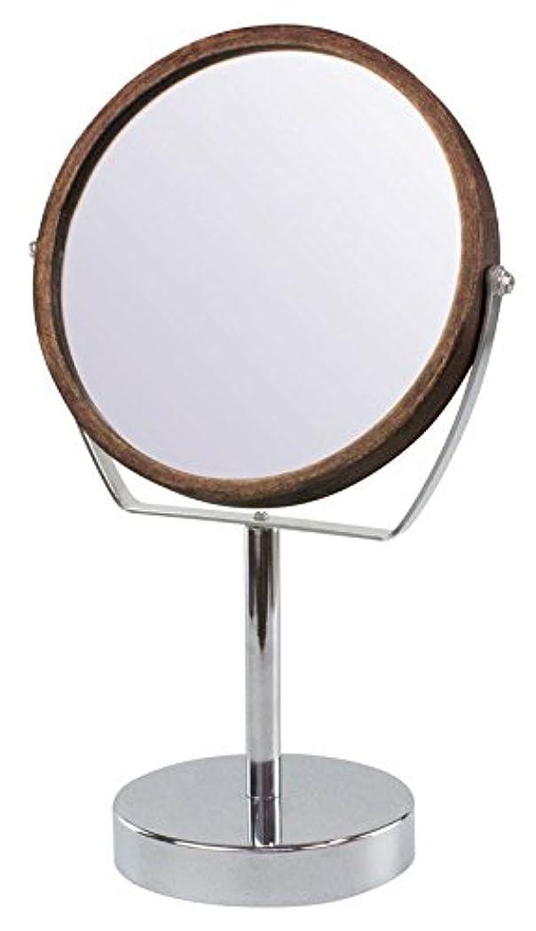 印象的な干渉する研磨剤ウッドフレーム 2WAY 5倍拡大鏡付 両面 卓上ミラー (ハイスタンドタイプ) ブラウン YWM-2