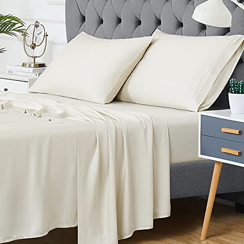 """CAROMIO 100% Bamboo Sheets Set King Size, Cool Sheets for Hot Sleepers, Super Soft and Breathable Bed Luxury Sheets with 16"""" Deep Pocket, 4 Piece Bedding Sheet and Pillowcases(Beige, King)"""