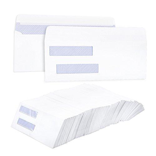 Set van 500 controle-enveloppen - zelfklevende beveiligingsenveloppen met dubbel raam - zelfklevende boekhoudsoftware controleert enveloppen financieel, zakelijk persoonlijk gebruik, wit - 8,75 x 3,6 inch