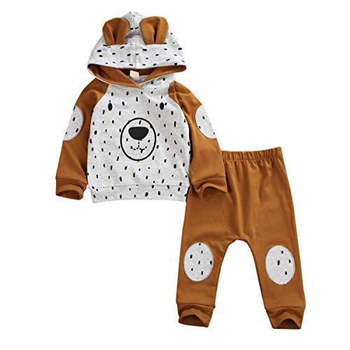 Bowanadacles - Conjunto de 2 piezas de ropa de bebé unisex con capucha de manga larga con estampado de oso + pantalones largos informales lindos de 0 a 24 meses marrón 18-24 meses