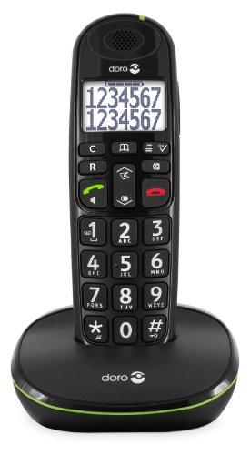Oferta de Doro PhoneEasy 110 Teléfono Inalámbrico DECT para Personas Mayores con Teclas Grandes Parlantes, Función de Llamada Interna y Audio Amplificado [Versión Española y Portuguesa] (X 1 / Negro)