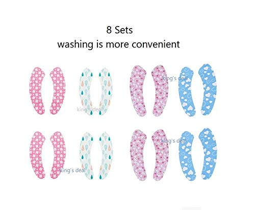 king's deal 8 Pairs Toilet Seat Warmer Cover, Adult Padded Cushion Warm Soft Fuzzy Round Elongated Washable Disposable Stickers,Winter Bathroom Warmer Washable Adhesive Cloth (Blue/White/Pink/Rabbit)