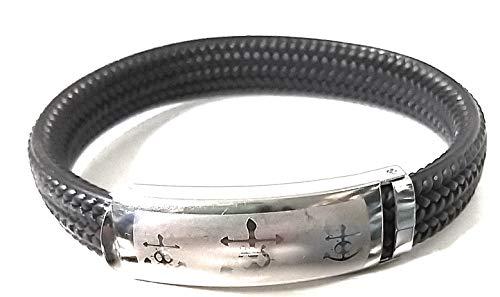 Mavijewel Pulsera de hombre de caucho trenzado con placa de acero símbolo ancla #Idea regalo # Caja Incluida # Charms # Made in Italy # Envío gratuito