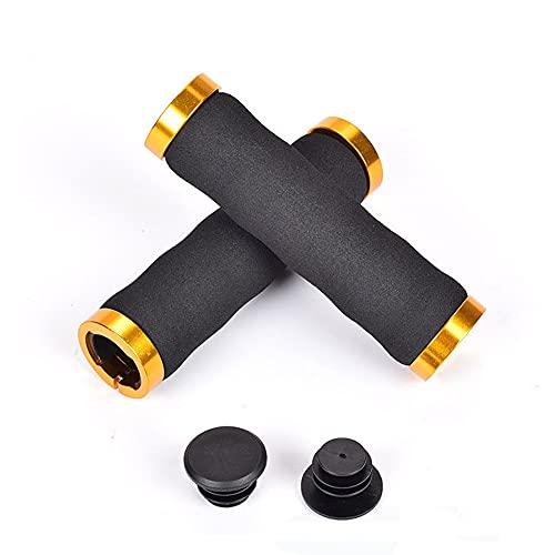 Shhma - Manopole per bicicletta, con doppia serratura e doppia bloccaggio, in spugna, antiscivolo e ammortizzante, colore: Oro