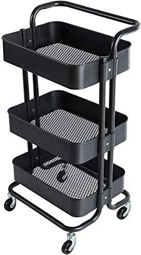Carros de almacenamiento Carrito de almacenamiento carro en ruedas, estantería de estantería de estantería de cocina de 3 niveles Carrito de arte, con canasta de malla ruedas de bloqueo para oficina B