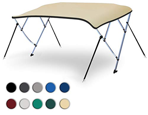 """Naviskin Sand 4 Bow 8'L x 54"""" H x 91""""-96"""" W Bimini Top Cover Includes Mounting Hardwares,Storage Boot with 1 Inch Aluminum Frame"""