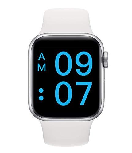 SmartWatch - Reloj deportivo con podómetro, pulsómetro, impermeable, notificación de mensajes, aplicación para Android IOS (blanco)