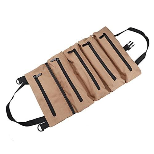 Roll Up Tasche Werkzeug Organizer Schlüssel Multi-Purpose-Beutel-Speicher-Fall-Segeltuch-Grün Gewachste Heavy Duty mit Reißverschluss Khaki Multifunktionswerkzeug für...