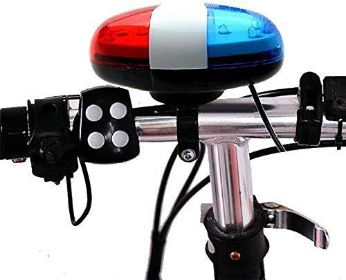 ZOOENIE Fahrrad Polizei Sound Licht, Fahrrad LED Licht Elektrische Hupe Sirene Horn Glocke, 5 LED Licht 4 Sounds Trompete, Warnung Sicherheit Licht, wasserdichte Fahrrad Lichter Zubehör