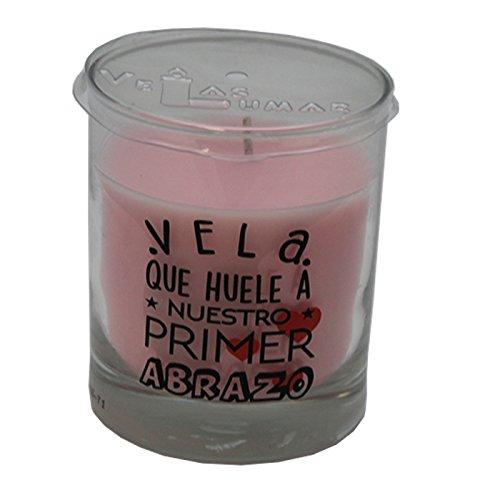 Vela perfumada con olor a fresas y mensaje