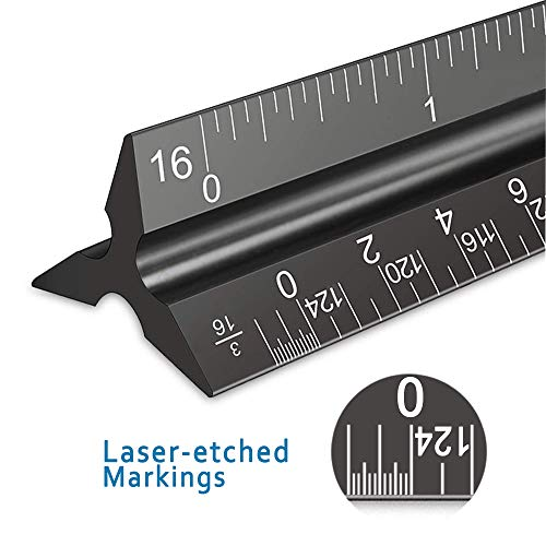 """Architectural Scale Ruler, 12"""" Aluminum Architect Scale, Triangular Scale, Scale Ruler for Blueprint, Triangle Ruler, Drafting Ruler, Architect Ruler, Metal Scale Ruler, Architecture Ruler Photo #3"""