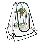 Outdoor Mini Pop Up Greenhouse Cover with 2 Layer Shelves & Hooks- Small Greenhouse Grow House Flower Shelter Backyard Garden Flower Plant Pot Cover for Plants Cold Frost Protection Wind Rain Proof