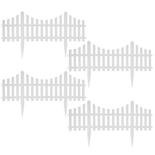 ASAB 4Pcs White Wood Effect Plastic Garden Edging Border Fencing Set with Splicable Detachable Picket Fence Panels for Courtyards Farms Outdoor Yard Flowerbeds Decoration