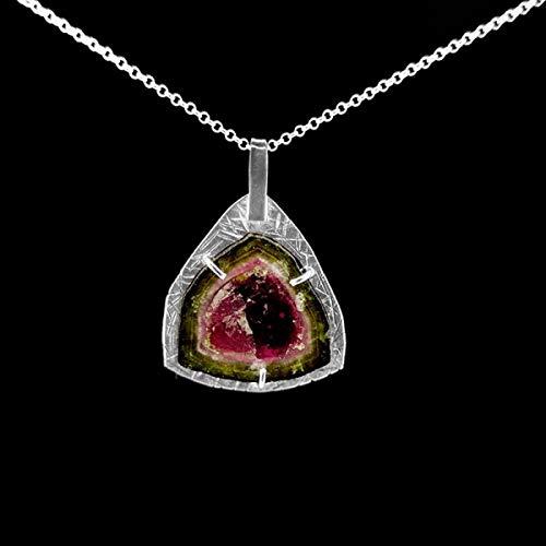 Anhänger Turmalin Wassermelone - Sterlingsilber (B7) Mineralien und Kristalle, energetische Schönheit, Meditation, spirituelle Amulette