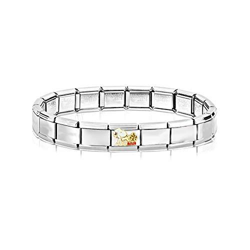 AKKi jewelry Italian Charms Armband mit Love Links Glieder Set Kult modele für Frauen Italy Charm - Edelstahl Schmuck Silber Modern Hund