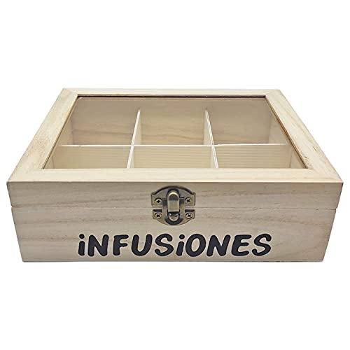 Acan Caja de Madera Infusiones con 6 Compartimentos y Tapa de Cristal...