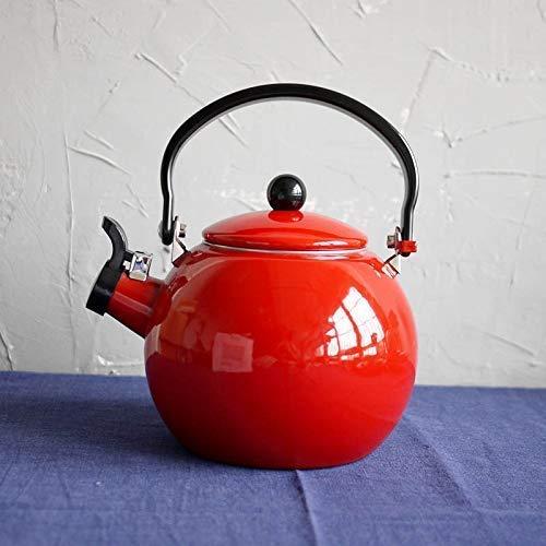 SGSG Novel Emaille Teekanne Teekannen Kaffeekannen Red Ball Emaille Eisenkanne Screaming Pot ∕ Retro 2.2L Wasserkocher Gasherd emaillierter Wasserkocher Emaille Wasserkocher