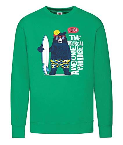 Sudadera con diseño de oso de surf, gafas de sol, dibujos animados, sudadera para mujer y mujer verde L