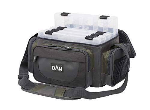 D-A-M Dam Spinning Bag M, Angeltasche für Spinnangler mit 4 Köderboxen (27x18x5cm)