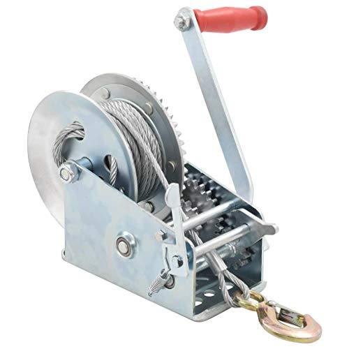 vidaXL Handseilwinde 2 Geschwindigkeiten Handseilzug Seilwinde Bootswinde Handwinde Seilzug Winde Anhänger 1360kg 10m 6mm 103mm Eisen