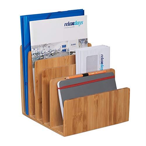 Relaxdays Dokumentenhalter Bambus, 5 Fächer, für Briefe und Unterlagen, Schreibtisch Organizer, HBT 23x24,5x25 cm, natur