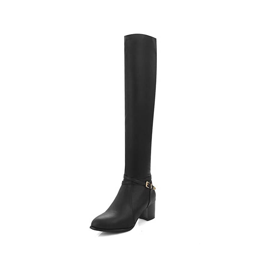 ゲインセイからかう知覚的(オールエイチキューファッション) AllhqFashion レディース 中ヒール 柔らかい表面 バックル ジッパー ポインテッドトゥ ロングブーツ F2AQXE033089 21.5cm 黒い
