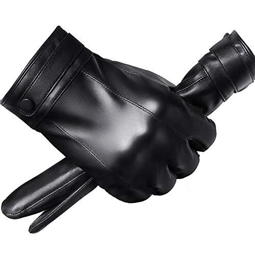 Lanoble革手袋 メンズ 防寒 スマホ 手袋 裏起毛 防風保温 アウトドア レザーグローブ バイクPU皮手袋冬