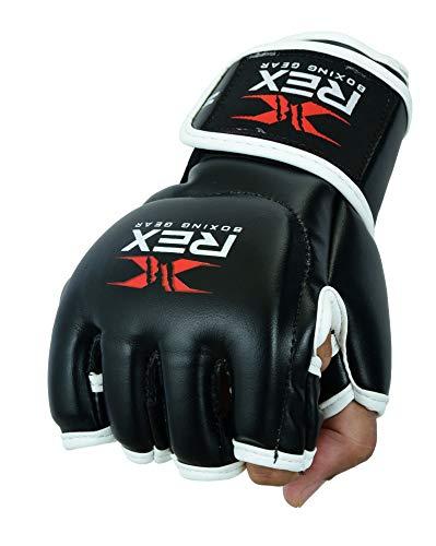 Rex Sports Boxhandschuhe für Kampfsport, offene Handfläche, Kickboxhandschuhe, Muay Thai, Käfigkampf, Fokus-Pads, Boxen, Sparring und Speedball, Trainingshandschuhe (schwarz, S)