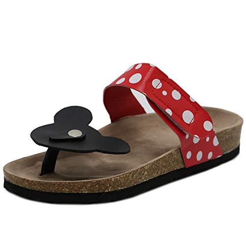 RAZAMAZA Damen Zehentrenner Mickey Mouse Pantoletten Sandalen Thongs s Shoes Red 41 Asian