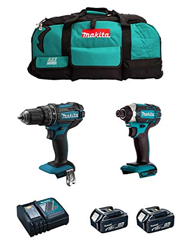 MAKITA Kit MK206 (Taladro Percutor DHP482 + Atornillador de Impacto DTD152 + 2 Baterías de 5,0 Ah + Cargador + LXT600)