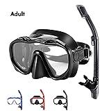 Snorkel Set Adults,Dry Snorkeling Set Men Women Anti-Fog Snorkel Mask Impact Resistant Panoramic