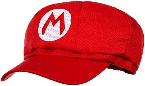 Super Mario Mütze rot für Erwachsene (Damen & Herren) Karneval Fasching Verkleidung Kostüm Mützen Hut Cap Herren Damen Kappe