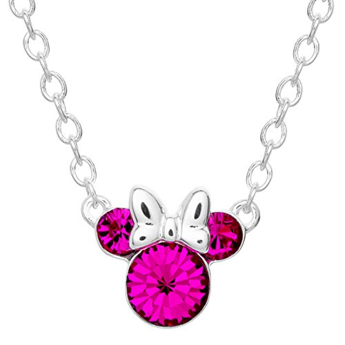 Disney Minnie Mouse Crystal Birthstone Silver Plated Pendant Necklace, July Ruby Red