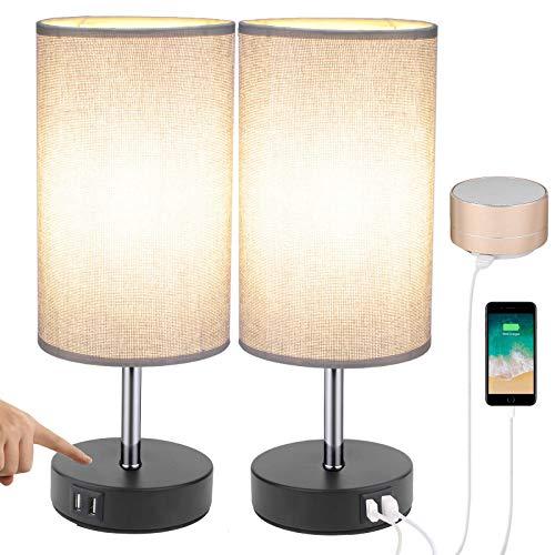 ENCOFT Lámpara de mesilla de noche USB Lámpara de mesa y escritorio...