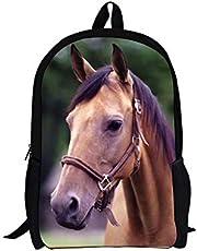 Aulaygo 3D Paard Rugzak voor Jongens Schooltassen Rugzak Dagelijkse pack voor Kinderen Meisjes Kind Tieners Studenten voor Klasse Vakantie Wandelen Reizen