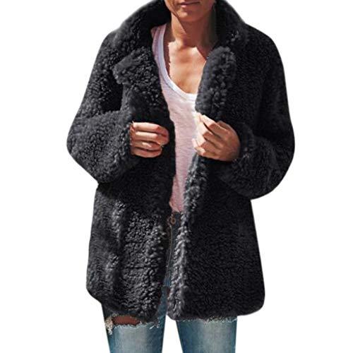 Purchase Pumsun Women's Casual Winter Warm Plush Coat Outwear Overcoat (Black, M)