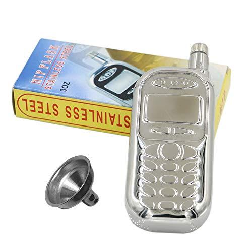 M&F MF Flasque 85 Gram en Forme de téléphone Classique Mini extérieur Portable en Acier Inoxydable Whisky Bouteille Vin Pot Pichet