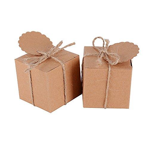 AONER (5 * 5 * 5cm) 100 Stück Gastgeschenk Box (inkl. Juteschnur + Geschenkanhänger) Geschenkbox Pralinenschachtel für Hochzeit, Geburtstag, Taufe, Party, Weihnachten Süßigkeiten Bonboniere