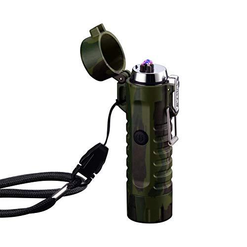 Encendedor de arco doble con linterna Doble plasma USB recargable, sin llama, a prueba de viento, mini encendedor eléctrico para cigarrillos, cigarrillos