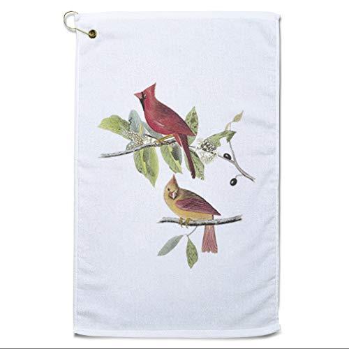Style In Print Golf Towel Northern Cardinal James Audubon Birds Animals Cotton Bag Accessories White Design Only