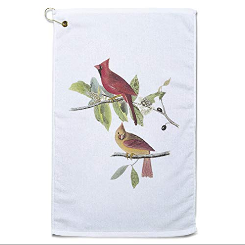 Style In Print Golf Towel Northern Cardinal James Audubon Birds Animals Cotton Bag Accessories White Design Only