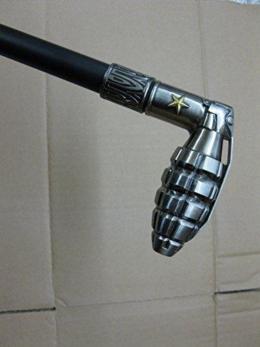 Métal Canne Canne Bâton de marche 94 cm avec poignée en métal argenté avec compartiment secret Walking Clé M72 gothique Steampunk la Russie