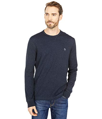 Original Penguin Men's Reversible Duofold Long Sleeve Shirt with Crew Neck, Dark Sapphire, Medium