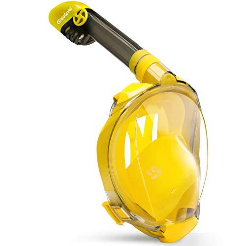 Greatever Máscara de Buceo Snorkel Esnórquel Integral Plegable Anti-Vaho Anti-Fuga Gafas Cara Completa 180 ° Vista panorámica Apoyo Camara Deportiva para Unisex-Adultos (Transparent-Yellow, S/M)