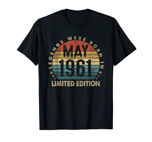 Regalo de 60 años leyendas mayo de 1961 60 cumpleaños regalos Camiseta