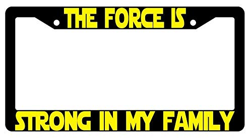 License Plate Frames, The Force Is Strong In My Family Black Metal License Plate Frame Star Wars Applicable to Standard car Rust-Proof Rattle-Proof Weather-Proof License Plate Frame Cover 15x30cm