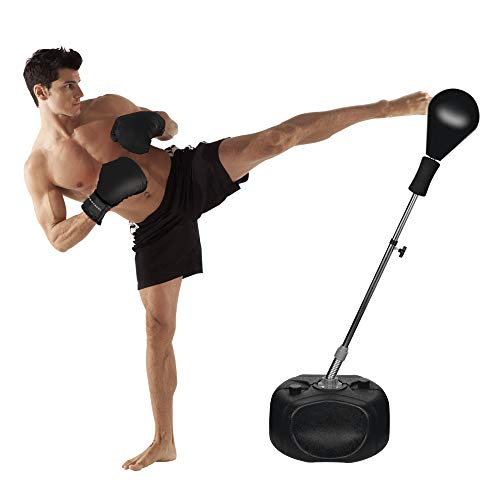 Protocol Best All-in-one Boxing Set | Solid EVA Foam Punching Ball with Adjustable Height Stand That Withstands Tough Beatings and Includes Comfortable Boxing Gloves (Premium) Black