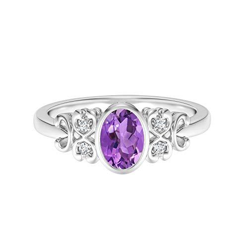 Shine Jewel Clásico Anillo con Bisel de Plata 925 Inspirado en Amatista Ovalada de 6X4 MM (25)