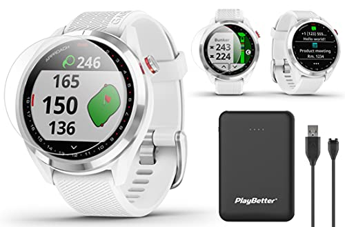 Garmin Approach S42 GPS Golf Watch Bundle | Includes PlayBetter Portable Charger & HD Screen Protectors | Color Screen, 42,000+ Courses | Golf Watch for Men & Women 2021 | Silver/White, 010-02572-11