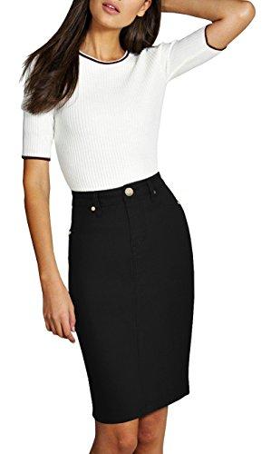 Lexi Womens Pull on Stretch Denim Skirt SKS19410 Black 8